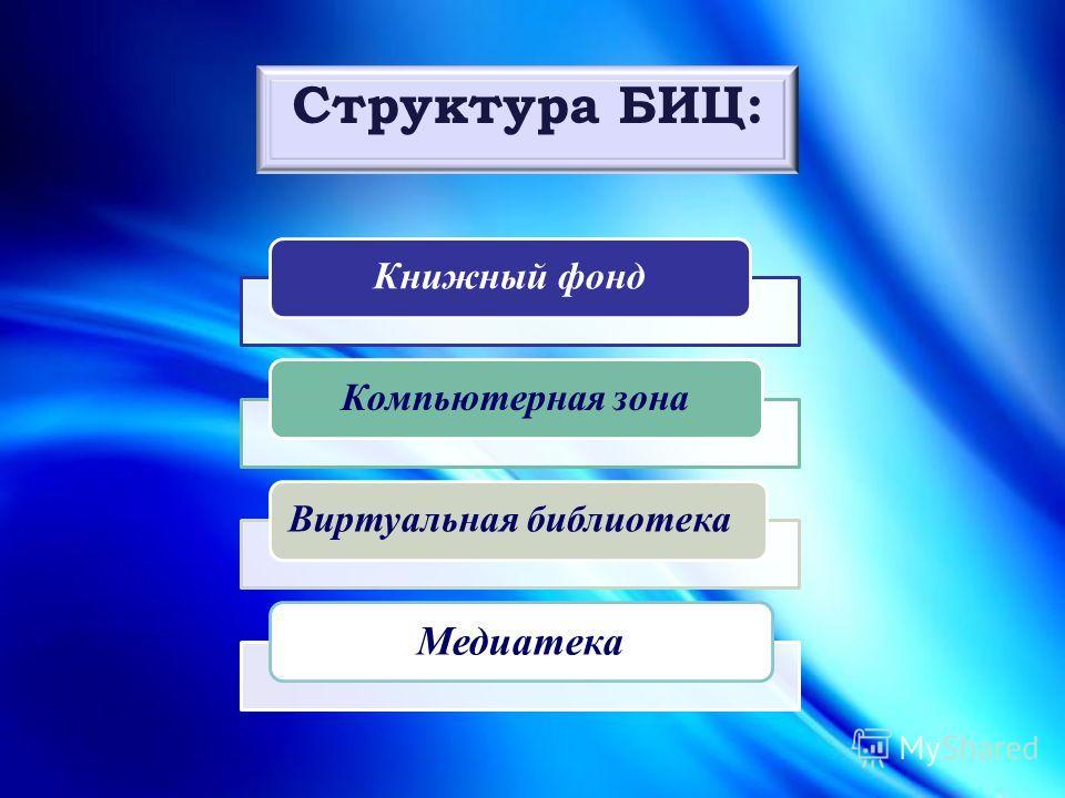 Структура БИЦ: Книжный фондКомпьютерная зонаВиртуальная библиотека Медиатека