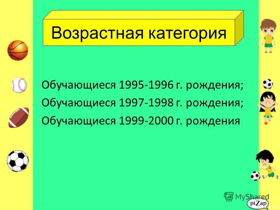 Обучающиеся 1995-1996 г. рождения; Обучающиеся 1997-1998 г. рождения; Обучающиеся 1999-2000 г. рождения Возрастная категория