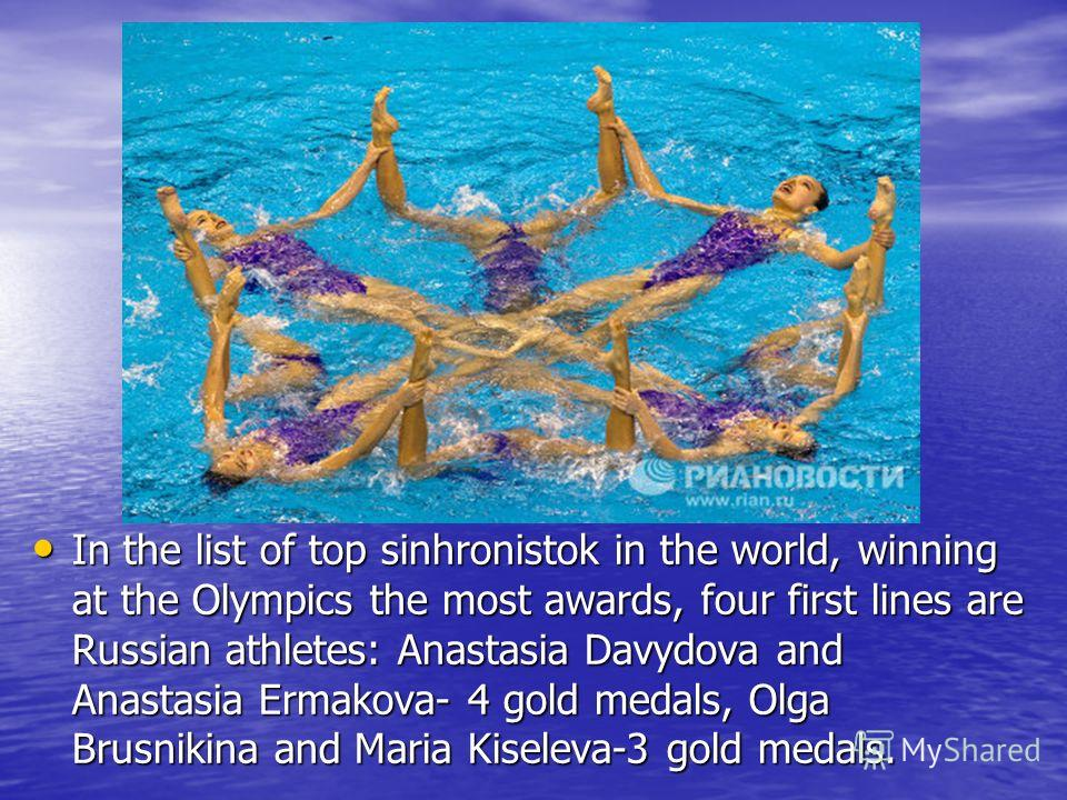 In the list of top sinhronistok in the world, winning at the Olympics the most awards, four first lines are Russian athletes: Anastasia Davydova and Anastasia Ermakova- 4 gold medals, Olga Brusnikina and Maria Kiseleva-3 gold medals. In the list of t