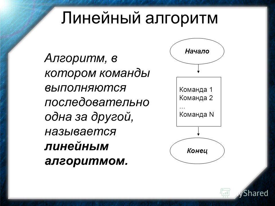 Линейный алгоритм Алгоритм, в котором команды выполняются последовательно одна за другой, называется линейным алгоритмом. Начало Команда 1 Команда 2... Команда N Конец