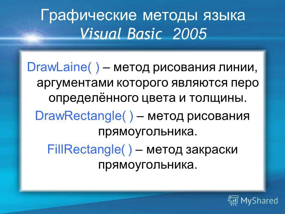 Графические методы языка Visual Basic 2005 DrawLaine( ) – метод рисования линии, аргументами которого являются перо определённого цвета и толщины. DrawRectangle( ) – метод рисования прямоугольника. FillRectangle( ) – метод закраски прямоугольника.