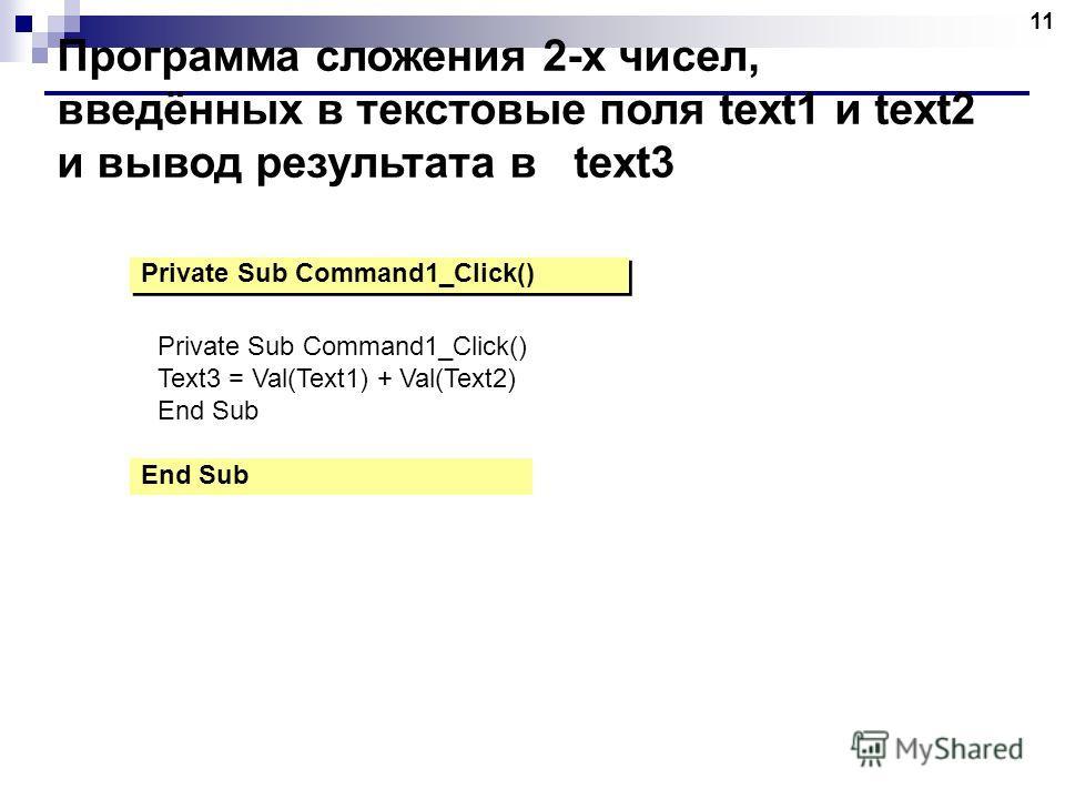 11 Программа сложения 2-х чисел, введённых в текстовые поля text1 и text2 и вывод результата в text3 Private Sub Command1_Click() End Sub Private Sub Command1_Click() Text3 = Val(Text1) + Val(Text2) End Sub