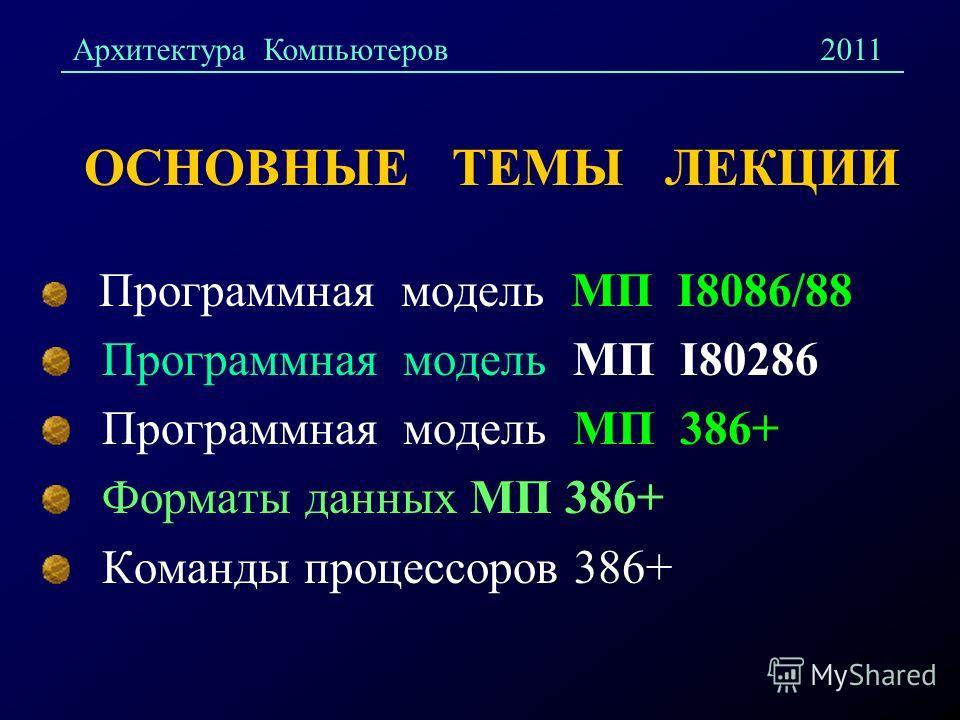 ОСНОВНЫЕ ТЕМЫ ЛЕКЦИИ Программная модель МП I8086/88 Программная модель МП I80286 Программная модель МП 386+ Форматы данных МП 386+ Команды процессоров 386+ Архитектура Компьютеров2011