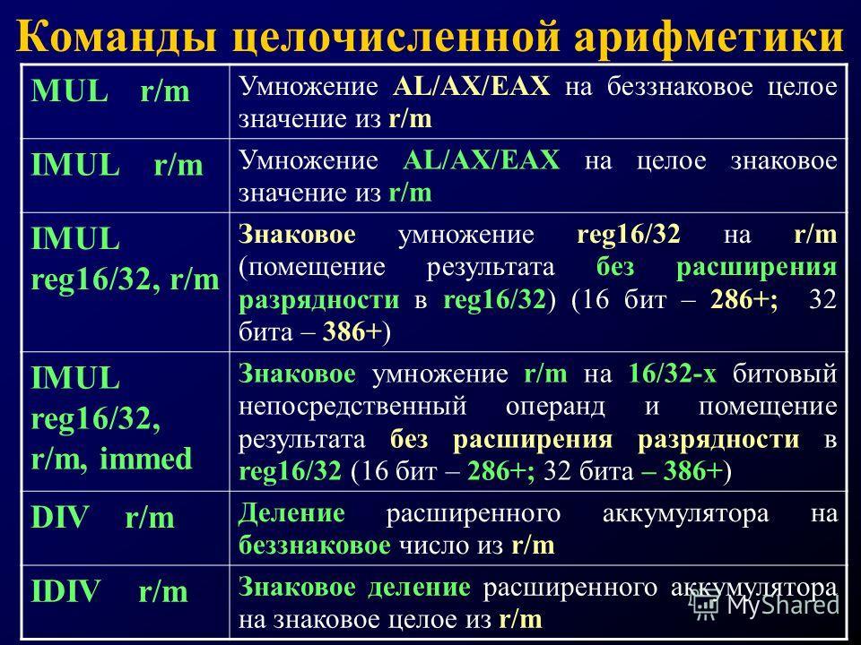 Команды целочисленной арифметики MUL r/m Умножение AL/AX/EAX на беззнаковое целое значение из r/m IMUL r/m Умножение AL/AX/EAX на целое знаковое значение из r/m IMUL reg16/32, r/m Знаковое умножение reg16/32 на r/m (помещение результата без расширени