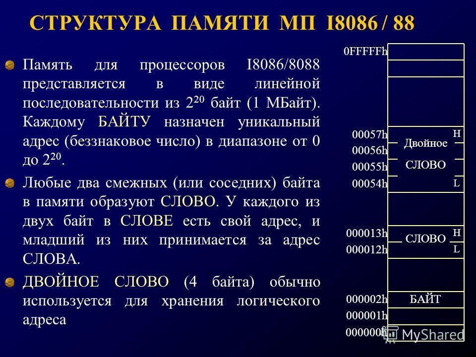СТРУКТУРА ПАМЯТИ МП I8086 / 88 Память для процессоров I8086/8088 представляется в виде линейной последовательности из 2 20 байт (1 МБайт). Каждому БАЙТУ назначен уникальный адрес (беззнаковое число) в диапазоне от 0 до 2 20. Любые два смежных (или со