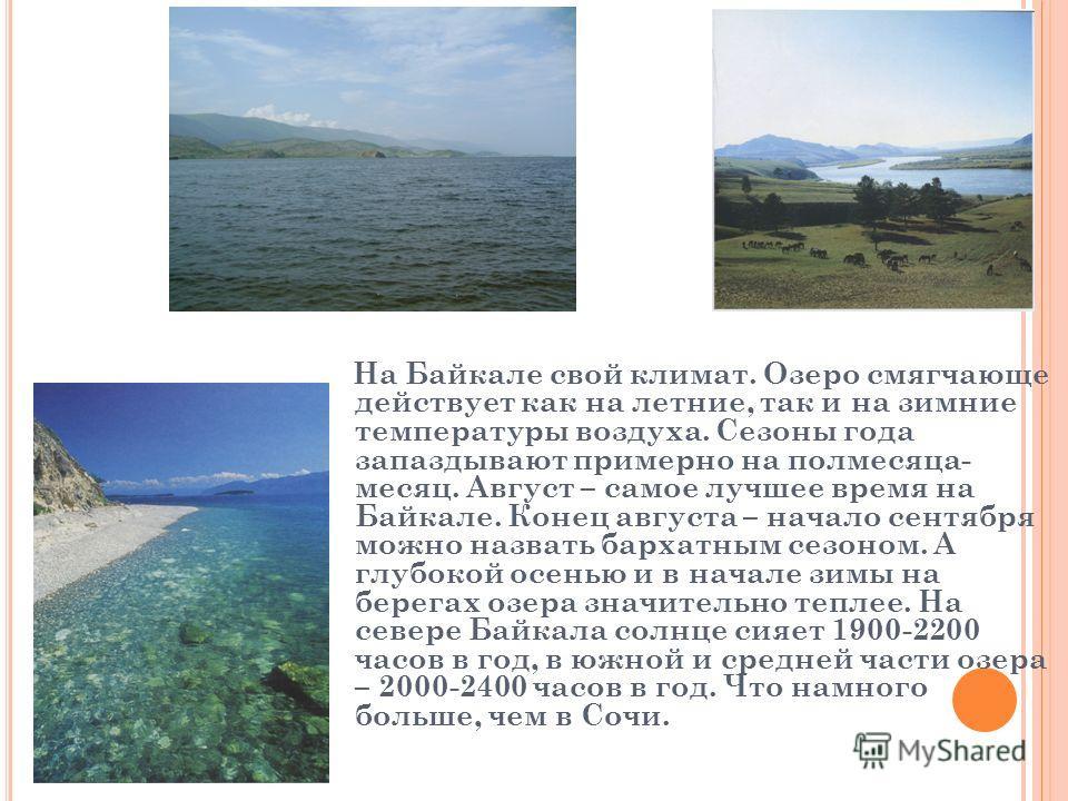 На Байкале свой климат. Озеро смягчающе действует как на летние, так и на зимние температуры воздуха. Сезоны года запаздывают примерно на полмесяца- месяц. Август – самое лучшее время на Байкале. Конец августа – начало сентября можно назвать бархатны