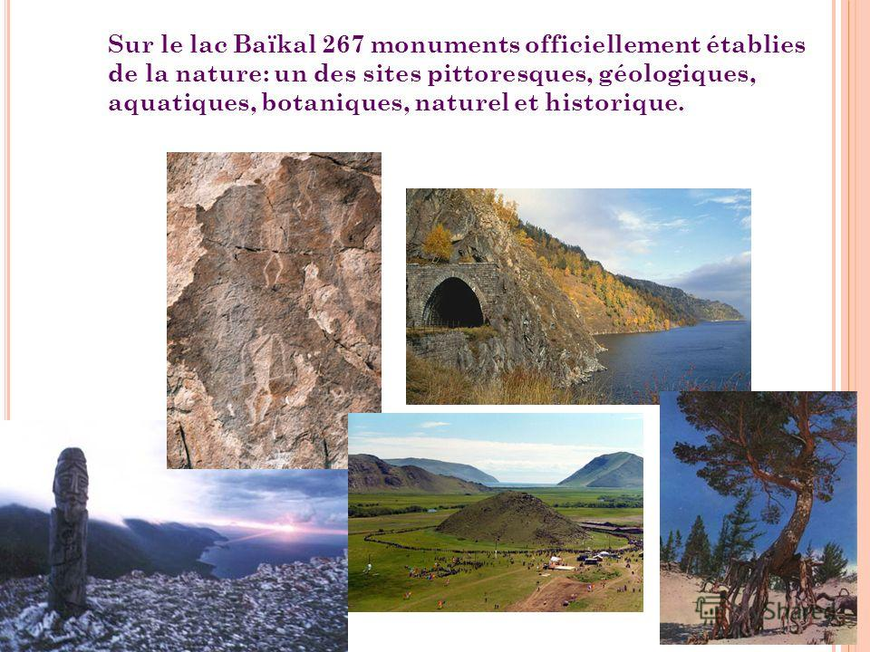 Sur le lac Baïkal 267 monuments officiellement établies de la nature: un des sites pittoresques, géologiques, aquatiques, botaniques, naturel et historique.
