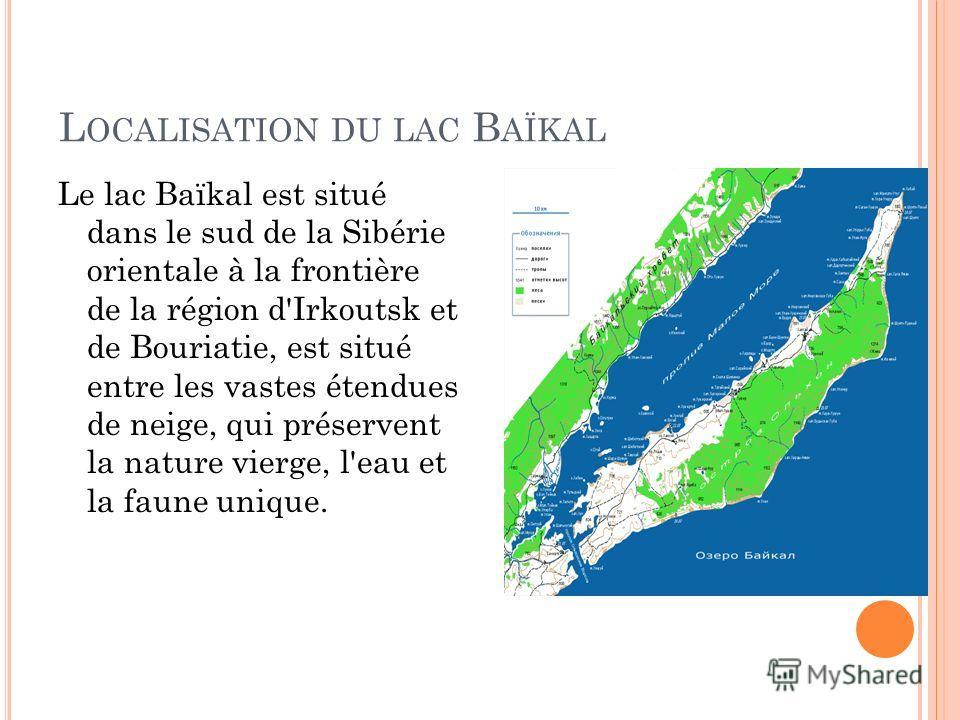 L OCALISATION DU LAC B AÏKAL Le lac Baïkal est situé dans le sud de la Sibérie orientale à la frontière de la région d'Irkoutsk et de Bouriatie, est situé entre les vastes étendues de neige, qui préservent la nature vierge, l'eau et la faune unique.