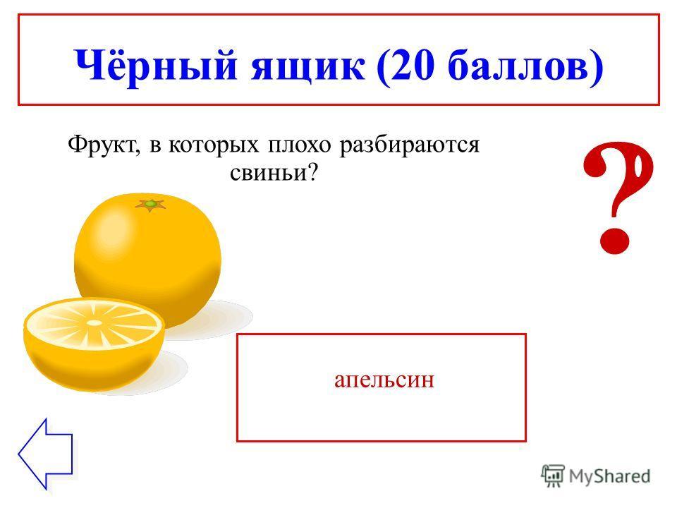 Чёрный ящик (20 баллов) Фрукт, в которых плохо разбираются свиньи? апельсин