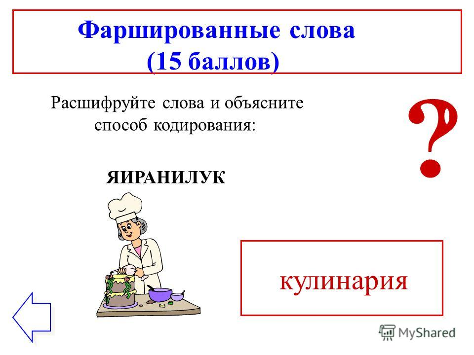Фаршированные слова (15 баллов) Расшифруйте слова и объясните способ кодирования: ЯИРАНИЛУК кулинария