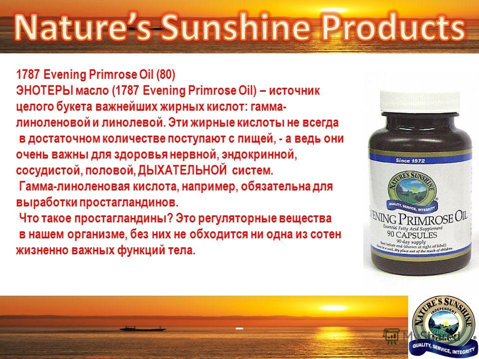 – 1787 Evening Primrose Oil (80) ЭНОТЕРЫ масло (1787 Evening Primrose Oil) – источник целого букета важнейших жирных кислот: гамма- линоленовой и линолевой. Эти жирные кислоты не всегда в достаточном количестве поступают с пищей, - а ведь они очень в
