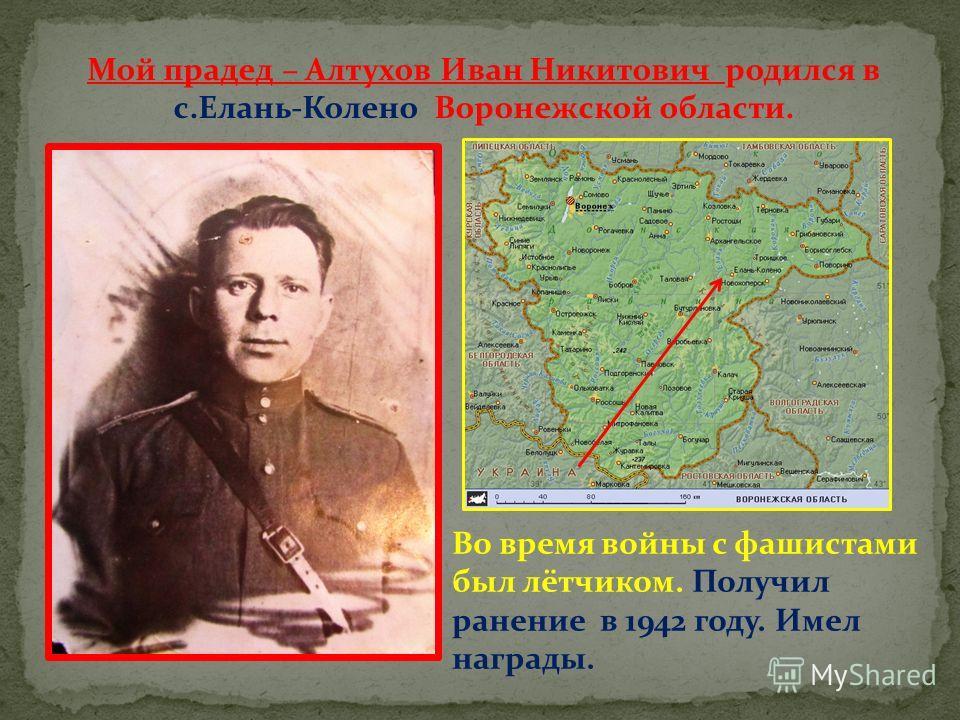 Мой прадед – Алтухов Иван Никитович родился в с.Елань-Колено Воронежской области. Во время войны с фашистами был лётчиком. Получил ранение в 1942 году. Имел награды.