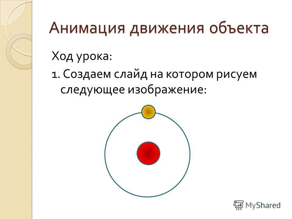 Анимация движения объекта Ход урока : 1. Создаем слайд на котором рисуем следующее изображение :