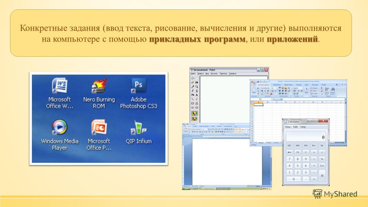 прикладных программприложений Конкретные задания (ввод текста, рисование, вычисления и другие) выполняются на компьютере с помощью прикладных программ, или приложений.