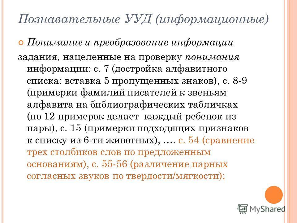 Познавательные УУД (информационные) Понимание и преобразование информации задания, нацеленные на проверку понимания информации: с. 7 (достройка алфавитного списка: вставка 5 пропущенных знаков), с. 8-9 (примерки фамилий писателей к звеньям алфавита н