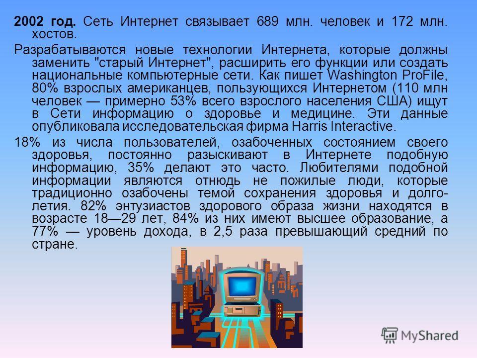 2002 год. Сеть Интернет связывает 689 млн. человек и 172 млн. хостов. Разрабатываются новые технологии Интернета, которые должны заменить