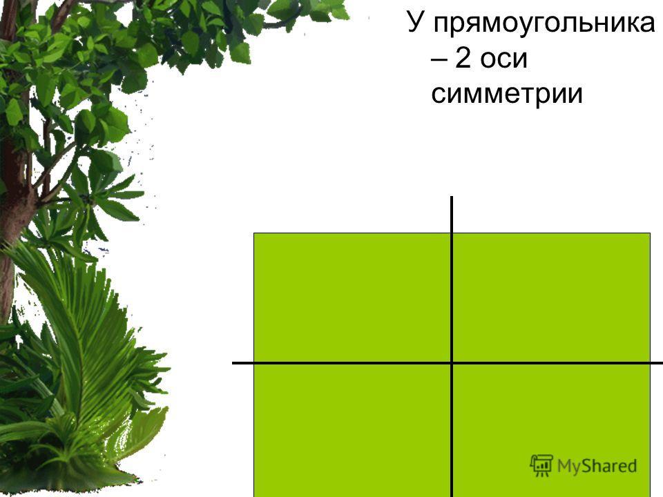 У прямоугольника – 2 оси симметрии