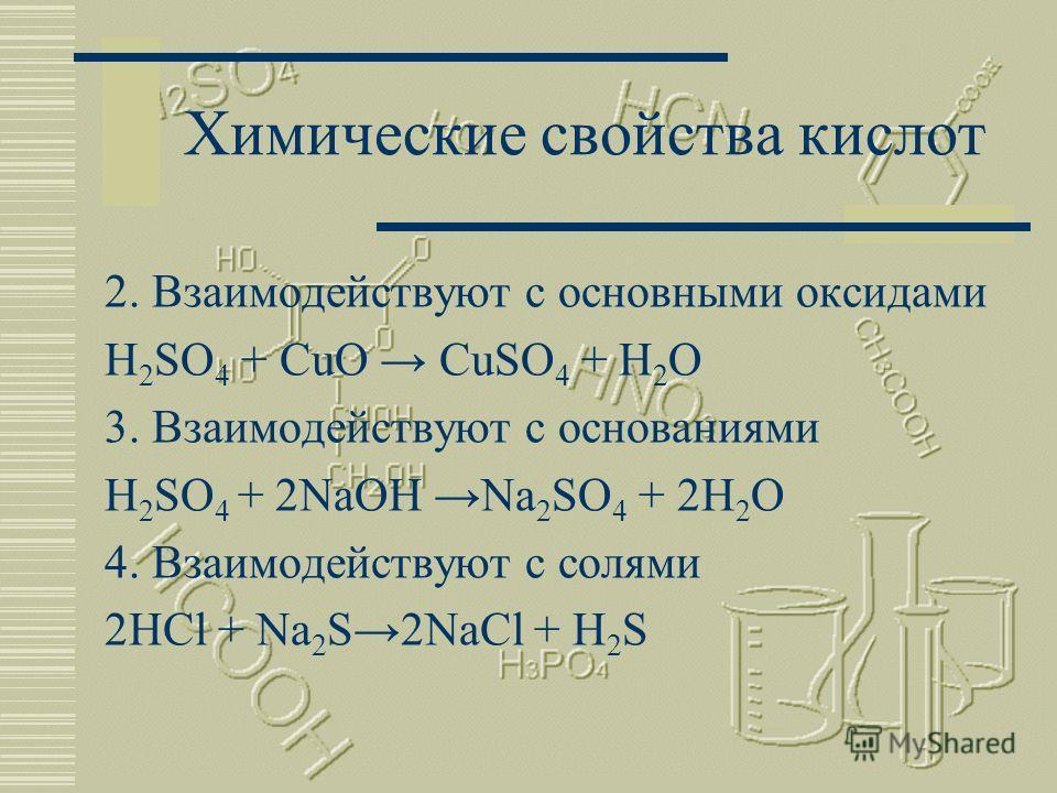 Химические свойства кислот 1.Взаимодействуют с металлами, стоящими в электрохимическом ряду напряжения до водорода Zn + 2HClZnCl 2 +H 2 Сu + HCl