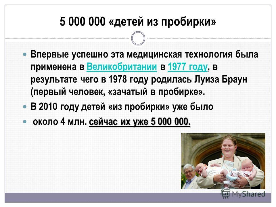 5 000 000 «детей из пробирки» Впервые успешно эта медицинская технология была применена в Великобритании в 1977 году, в результате чего в 1978 году родилась Луиза Браун (первый человек, «зачатый в пробирке».Великобритании1977 году В 2010 году детей «