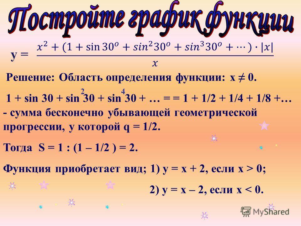 у = Решение: Область определения функции: х 0. 1 + sin 30 + sin 30 + sin 30 + … = = 1 + 1/2 + 1/4 + 1/8 +… - сумма бесконечно убывающей геометрической прогрессии, у которой q = 1/2. Тогда S = 1 : (1 – 1/2 ) = 2. Функция приобретает вид; 1) у = х + 2,
