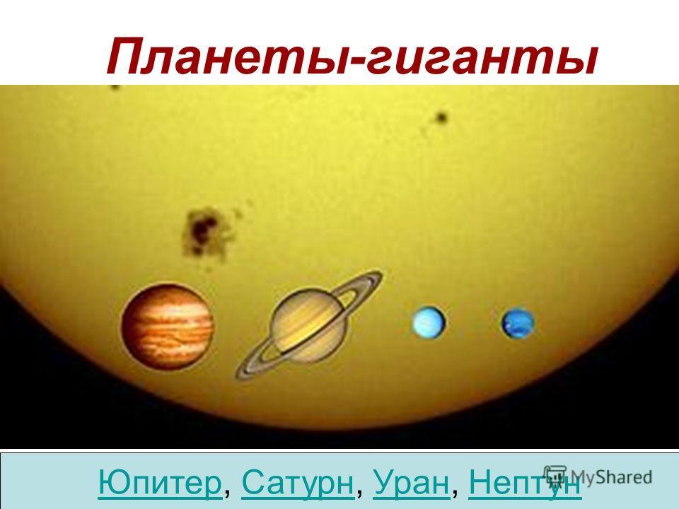 Планеты-гиганты Юпитер, Сатурн, Уран, Нептун