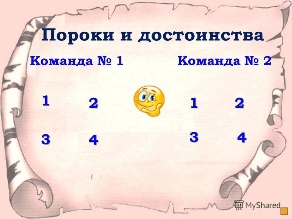 Пороки и достоинства Команда 1 Команда 2 1111 2222 3333 4444 1111 2222 3333 4444