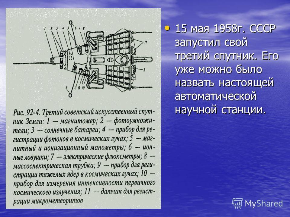 15 мая 1958г. СССР запустил свой третий спутник. Его уже можно было назвать настоящей автоматической научной станции.