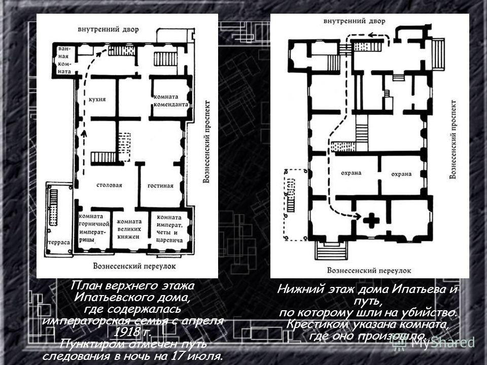 План верхнего этажа Ипатьевского дома, где содержалась императорская семья с апреля 1918 г. Пунктиром отмечен путь следования в ночь на 17 июля. Нижний этаж дома Ипатьева и путь, по которому шли на убийство. Крестиком указана комната, где оно произош