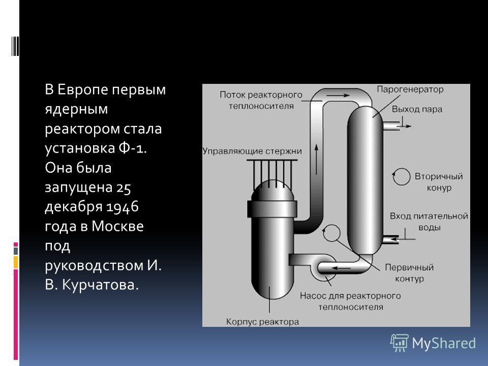 В Европе первым ядерным реактором стала установка Ф-1. Она была запущена 25 декабря 1946 года в Москве под руководством И. В. Курчатова.