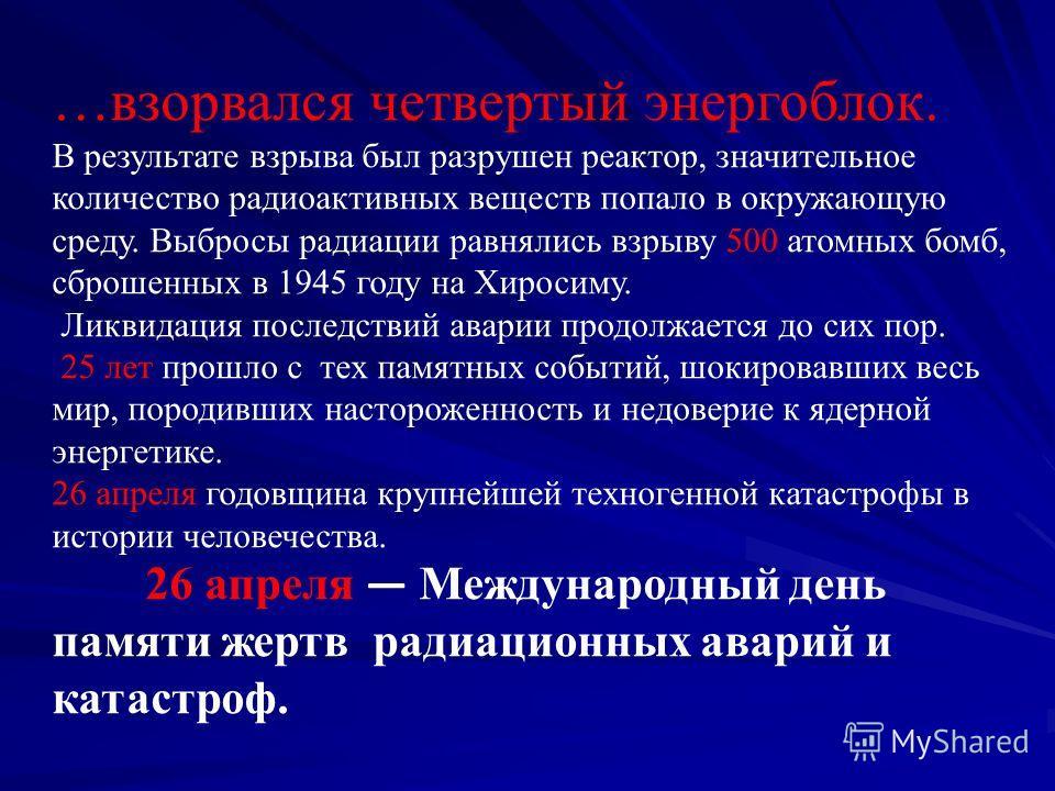 26 апреля 1986 года в 1 час 24 минуты… На Чернобыльской атомной электростанции (ЧАЭС) (ЧАЭС) Произошла техногенная катастрофа