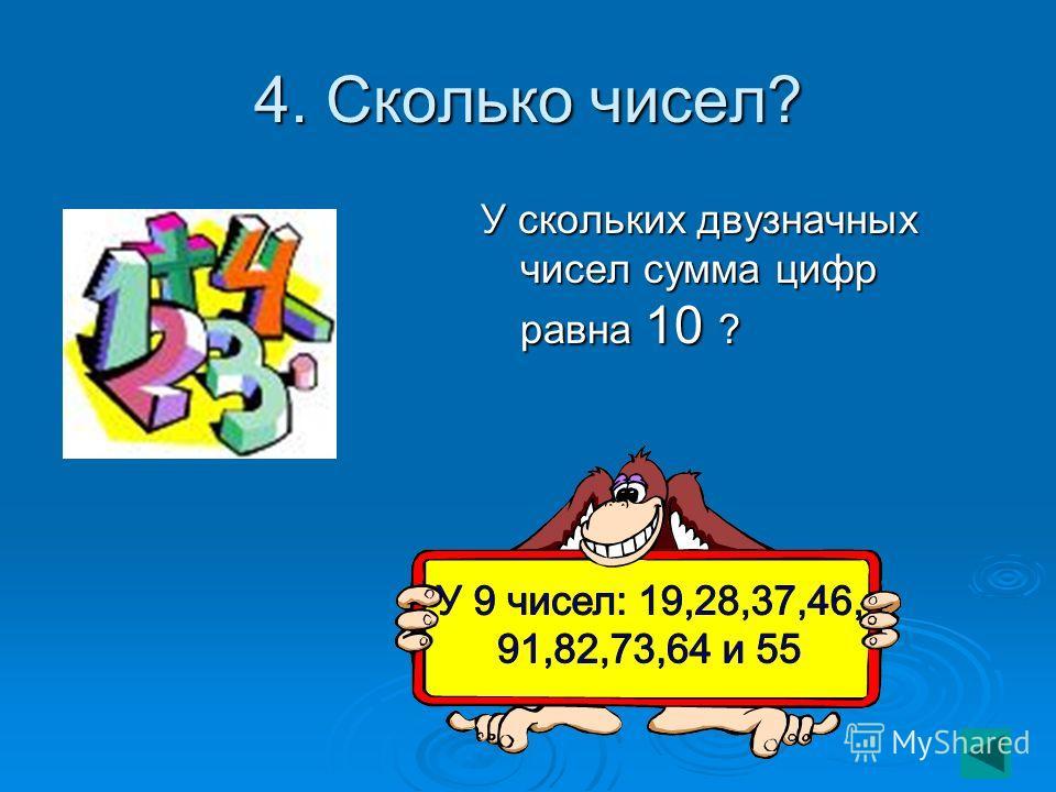 4. Сколько чисел? У скольких двузначных чисел сумма цифр равна 10 ?