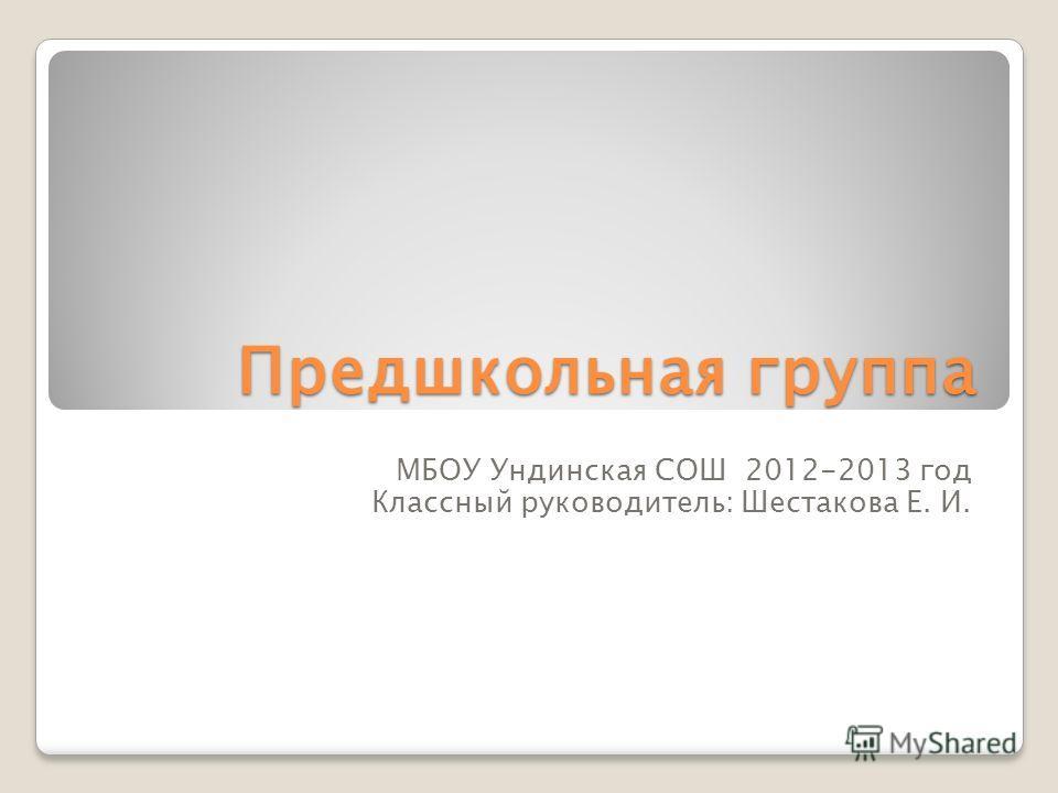 Предшкольная группа МБОУ Ундинская СОШ 2012-2013 год Классный руководитель: Шестакова Е. И.