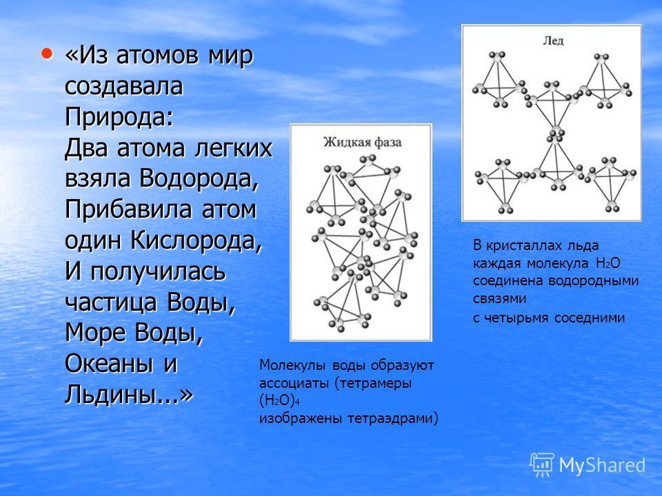 «Из атомов мир создавала Природа: Два атома легких взяла Водорода, Прибавила атом один Кислорода, И получилась частица Воды, Море Воды, Океаны и Льдины...» Молекулы воды образуют ассоциаты (тетрамеры (Н 2 О) 4 изображены тетраэдрами) В кристаллах льд