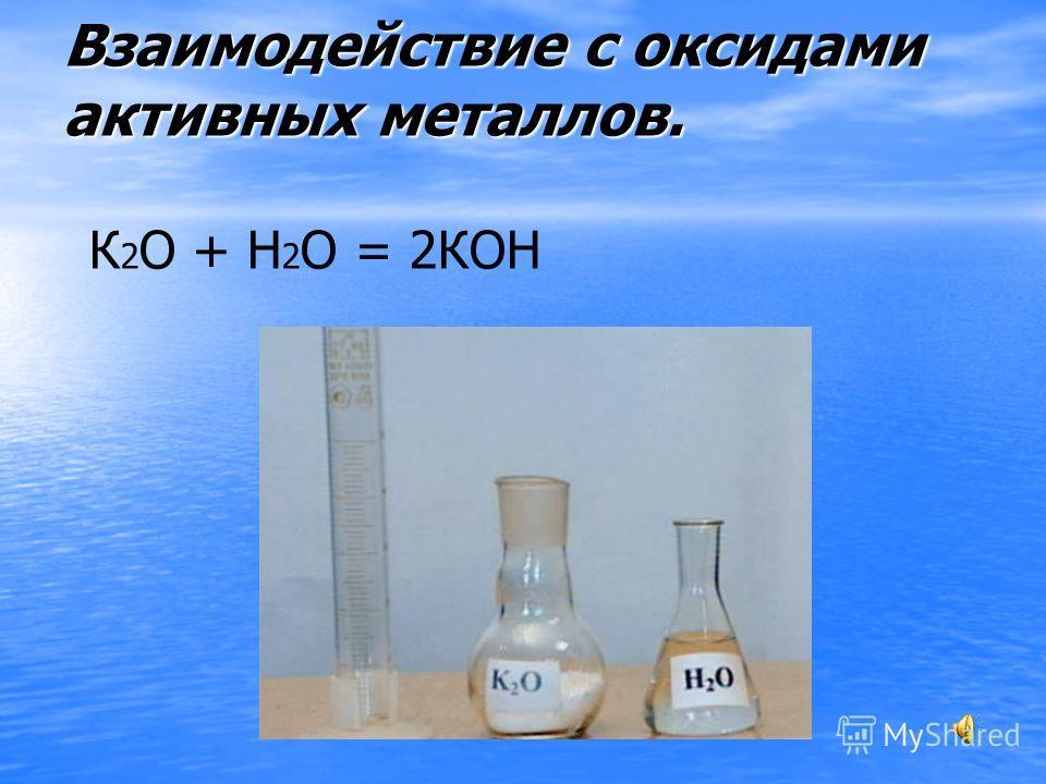Взаимодействие с оксидами активных металлов. К 2 О + Н 2 О = 2КОН