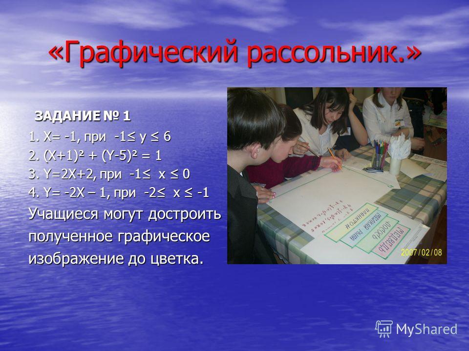 «Графический рассольник.» ЗАДАНИЕ 1 ЗАДАНИЕ 1 1. Х= -1, при -1 y 6 2. (X+1)² + (Y-5)² = 1 3. Y=2X+2, при -1 х 0 4. Y= -2X – 1, при -2 х -1 Учащиеся могут достроить полученное графическое изображение до цветка.