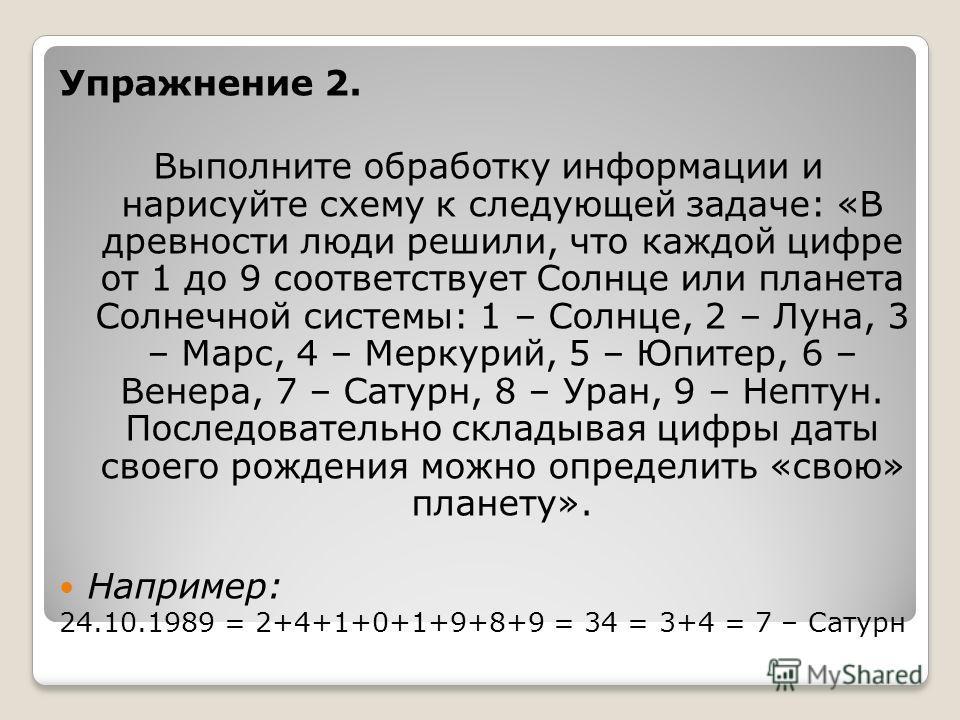 Упражнение 2. Выполните обработку информации и нарисуйте схему к следующей задаче: «В древности люди решили, что каждой цифре от 1 до 9 соответствует Солнце или планета Солнечной системы: 1 – Солнце, 2 – Луна, 3 – Марс, 4 – Меркурий, 5 – Юпитер, 6 –