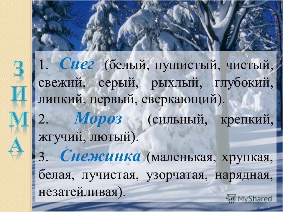1. Снег (белый, пушистый, чистый, свежий, серый, рыхлый, глубокий, липкий, первый, сверкающий). 2. Мороз (сильный, крепкий, жгучий, лютый). 3. Снежинка (маленькая, хрупкая, белая, лучистая, узорчатая, нарядная, незатейливая).