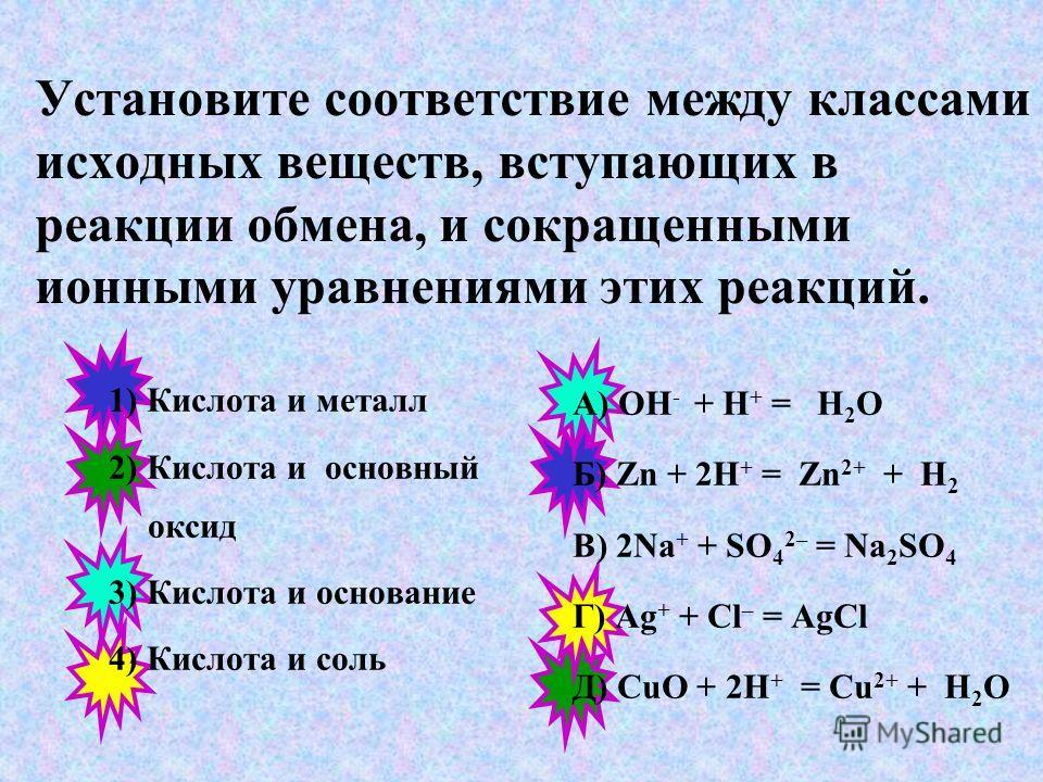 Установите соответствие между сокращенными ионными уравнениями реакций обмена и веществами, вступающими в реакцию. 1) Ca 2+ + CO 3 2– =CaCO 3 2) H + + OH – = H 2 O 3) Ba 2+ + SO 4 2– = BaSO 4 А) H 2 SO 4 и BaCl 2 Б) Na 2 CO 3 и CaCl 2 В) NaOH и H 2 S