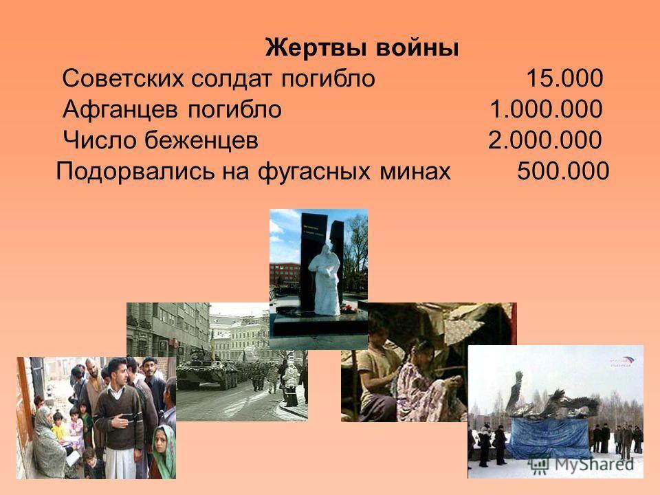 Жертвы войны Советских солдат погибло 15.000 Афганцев погибло 1.000.000 Число беженцев 2.000.000 Подорвались на фугасных минах 500.000