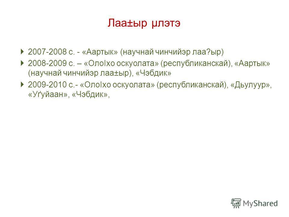 Лаа±ыр µлэтэ 2007-2008 с. - «Аартык» (научнай чинчийэр лаа?ыр) 2008-2009 с. – «ОлоІхо оскуолата» (республиканскай), «Аартык» (научнай чинчийэр лаа±ыр), «Чэбдик» 2009-2010 с.- «ОлоІхо оскуолата» (республиканскай), «Дьулуур», «Уґуйаан», «Чэбдик»,