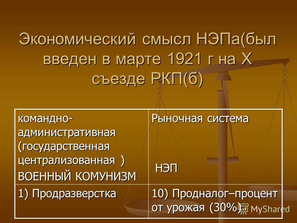 Экономический смысл НЭПа(был введен в марте 1921 г на Х съезде РКП(б) командно- административная (государственная централизованная ) ВОЕННЫЙ КОМУНИЗМ Рыночная система НЭП НЭП 1) Продразверстка 10) Продналог–процент от урожая (30%)