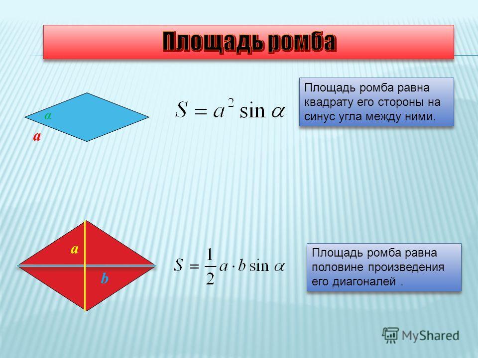Площадь ромба равна квадрату его стороны на синус угла между ними. Площадь ромба равна половине произведения его диагоналей. Площадь ромба равна половине произведения его диагоналей. a α a b