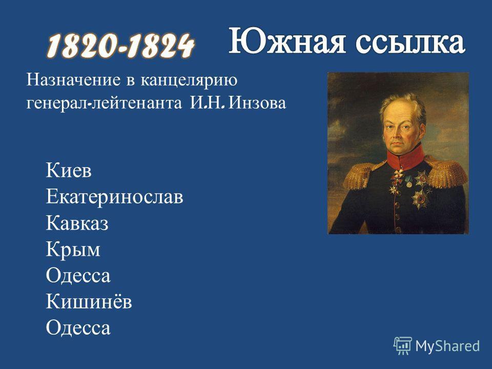 Назначение в канцелярию генерал - лейтенанта И. Н. Инзова Киев Екатеринослав Кавказ Крым Одесса Кишинёв Одесса