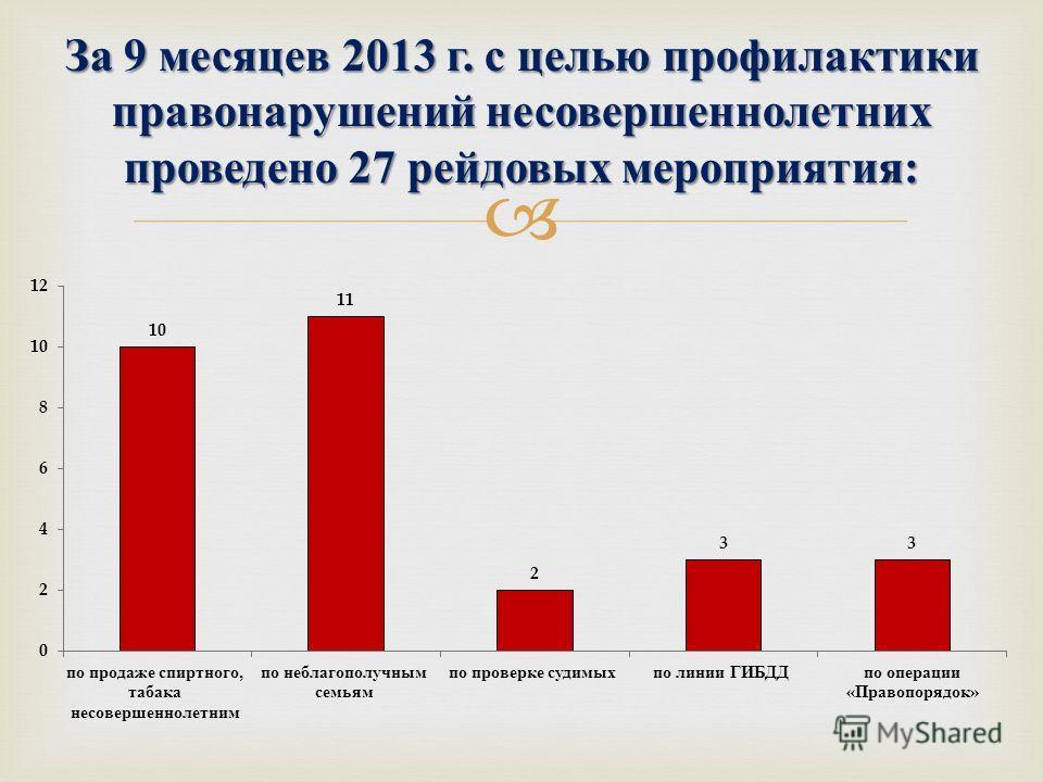 За 9 месяцев 2013 г. с целью профилактики правонарушений несовершеннолетних проведено 27 рейдовых мероприятия :