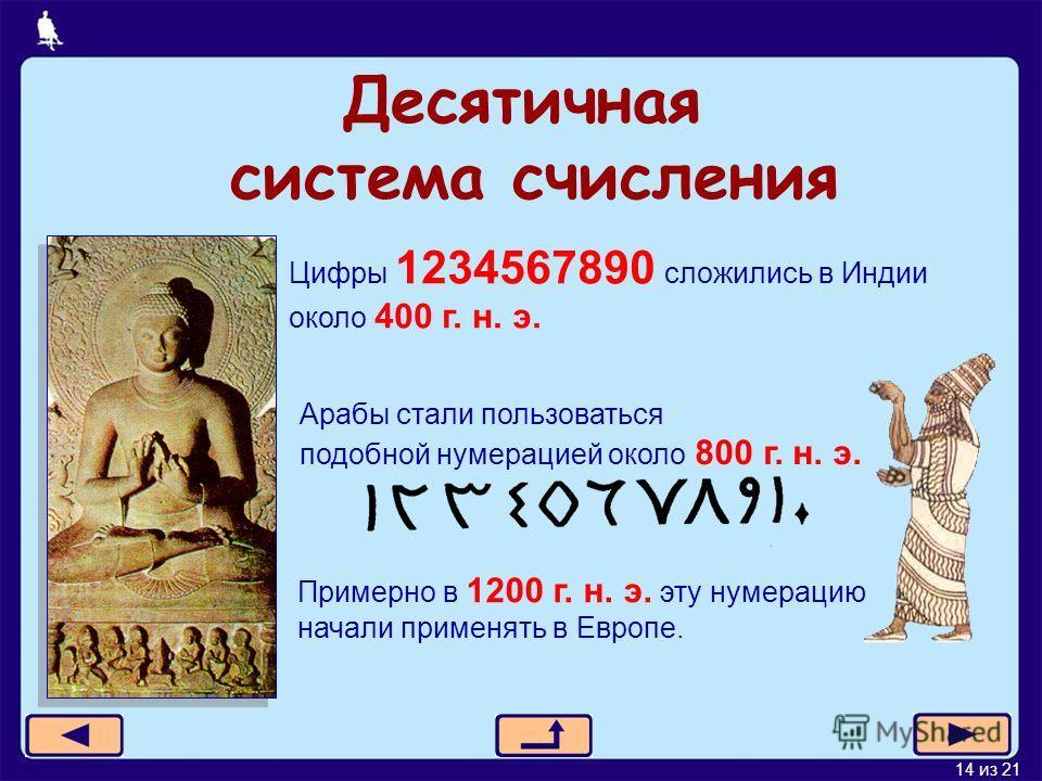 14 из 21 Десятичная система счисления Цифры 1234567890 сложились в Индии около 400 г. н. э. Арабы стали пользоваться подобной нумерацией около 800 г. н. э. Примерно в 1200 г. н. э. эту нумерацию начали применять в Европе.