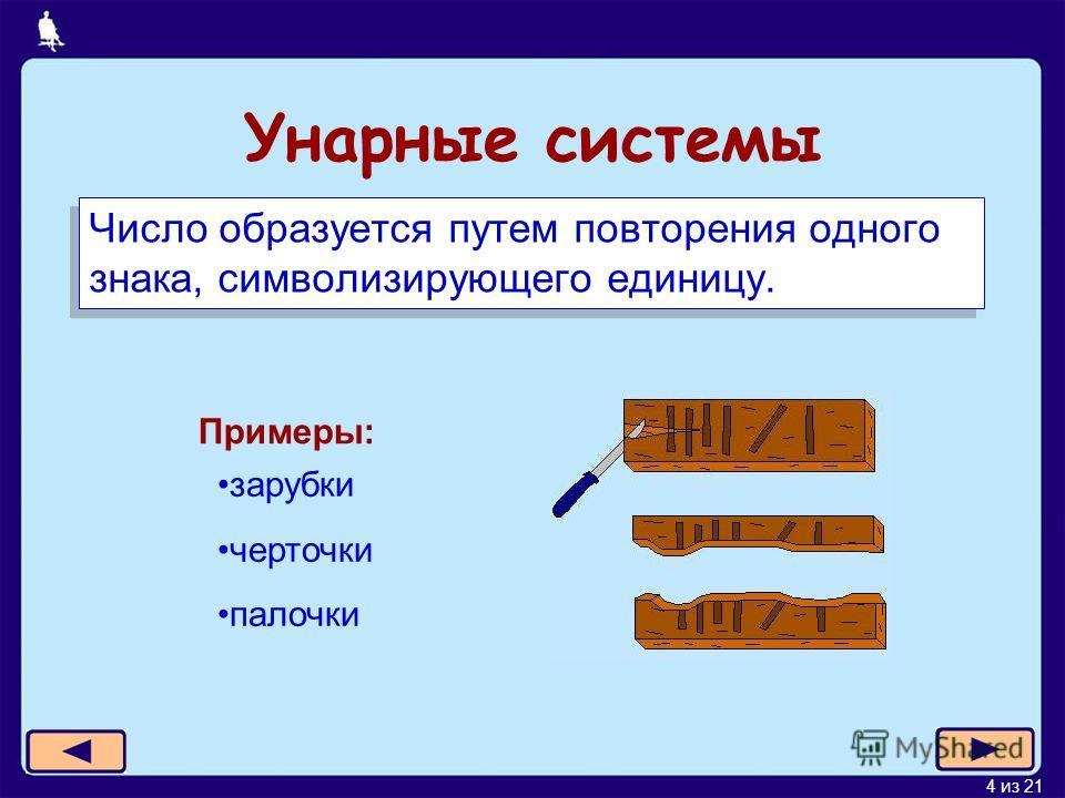 4 из 21 Унарные системы Число образуется путем повторения одного знака, символизирующего единицу. Примеры: зарубки черточки палочки