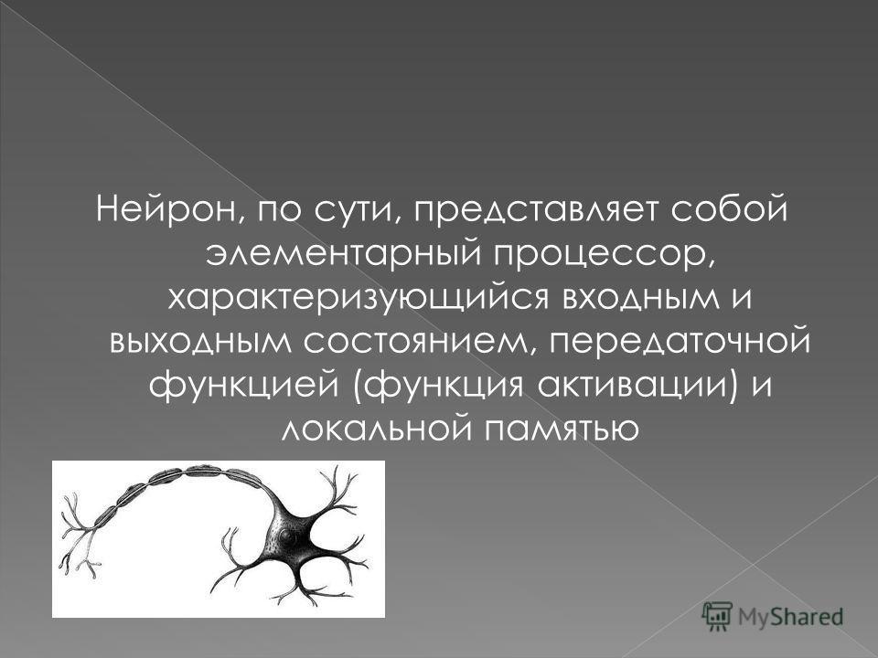 Нейрон, по сути, представляет собой элементарный процессор, характеризующийся входным и выходным состоянием, передаточной функцией (функция активации) и локальной памятью