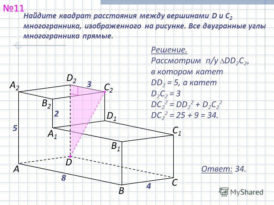 1111 Ответ: 34. Найдите квадрат расстояния между вершинами D и С 2 многогранника, изображенного на рисунке. Все двугранные углы многогранника прямые. Решение. Рассмотрим п/у DD 2 С 2, в котором катет DD 2 = 5, а катет D 2 С 2 = 3 DС 2 2 = DD 2 2 + D