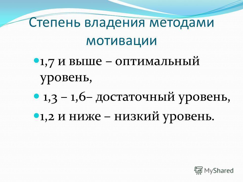 Степень владения методами мотивации 1,7 и выше – оптимальный уровень, 1,3 – 1,6– достаточный уровень, 1,2 и ниже – низкий уровень.