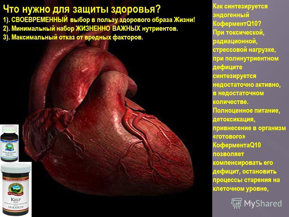Что нужно для защиты здоровья? 1). СВОЕВРЕМЕННЫЙ выбор в пользу здорового образа Жизни! 2). Минимальный набор ЖИЗНЕННО ВАЖНЫХ нутриентов. 3). Максимальный отказ от вредных факторов. Как синтезируется эндогенный КоферментQ10? При токсической, радиацио